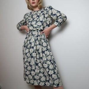 Vintage 90's navy and cream floral print dress